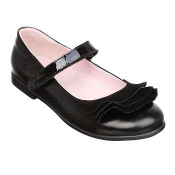 Туфли кожаные с оборками черный наплак