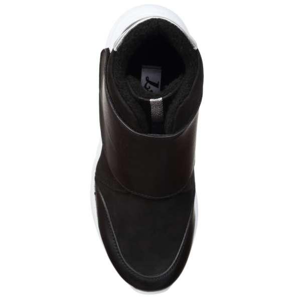 Ботинки кожаные на липучке Black на белой подошве