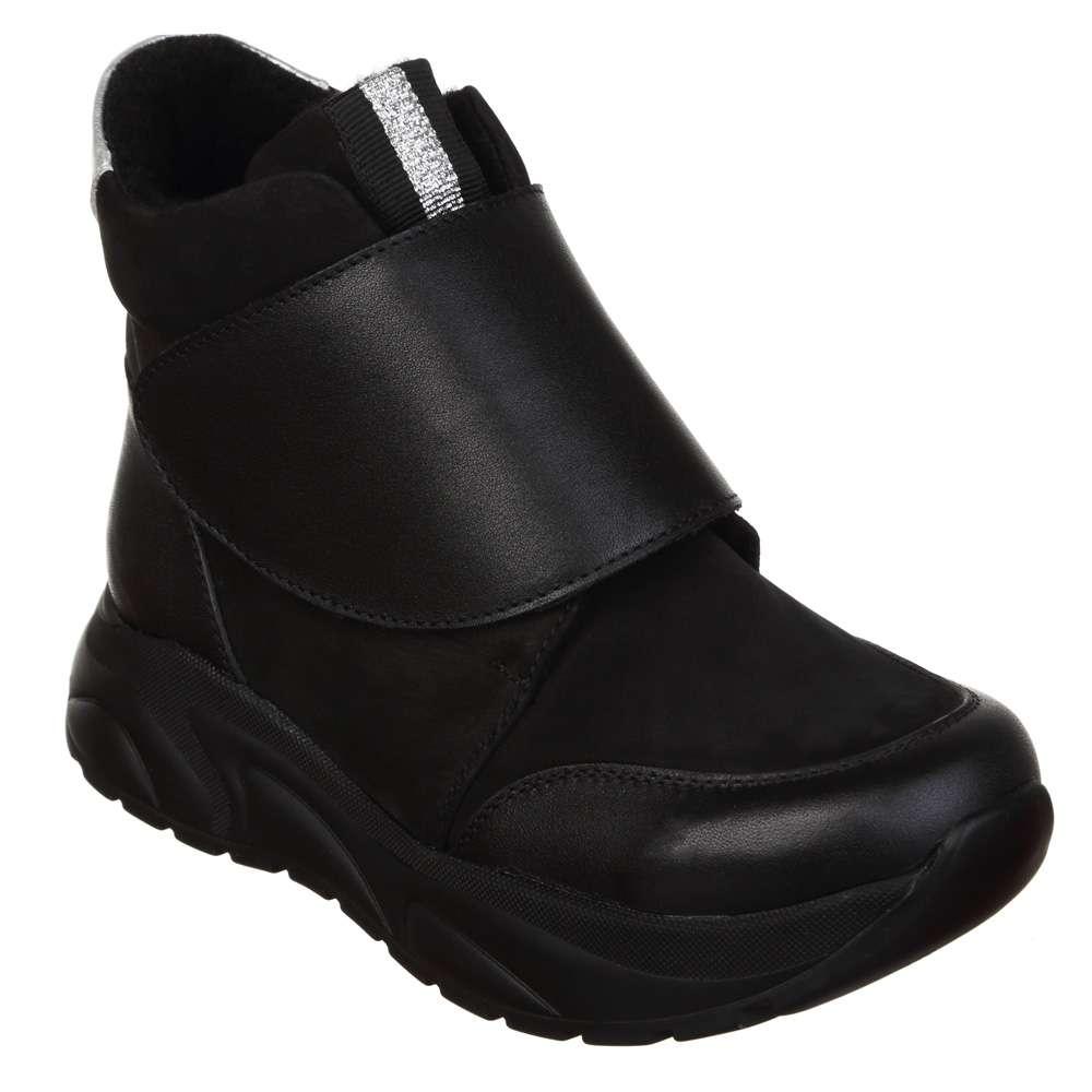 Ботинки кожаные на липучке Black