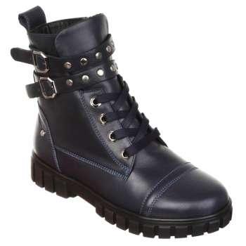Ботинки кожаные с ремнями синие