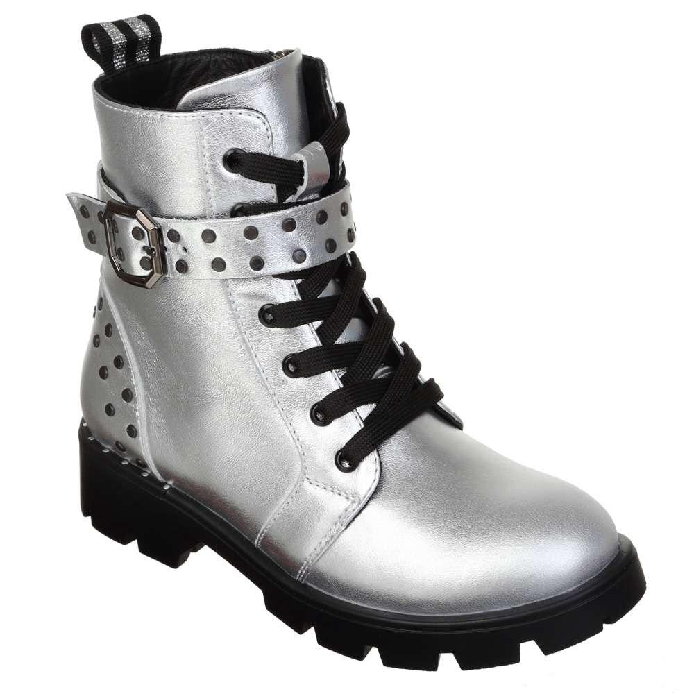 Ботинки кожаные с ремнями Silver