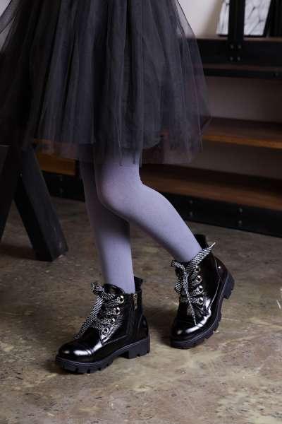 Ботинки кожаные  декорированные шнурками