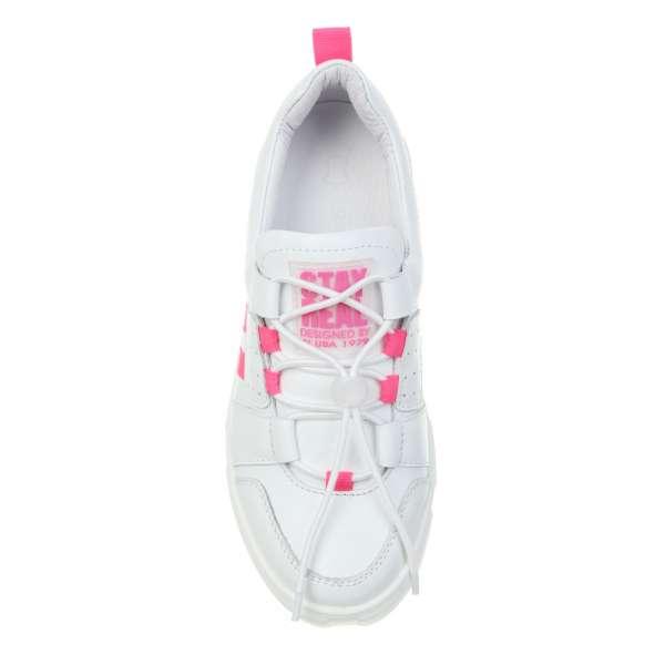 Кожаные кроссовки с яркими розовыми полосками