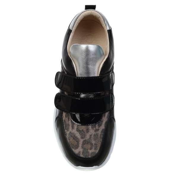 Кожаные кроссовки с леопардовым принтом