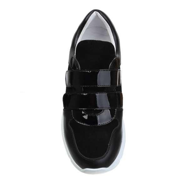 Кожаные кроссовки Black&Silver