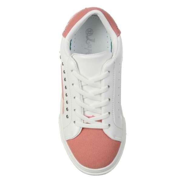 Кроссовки с заклепками розовые