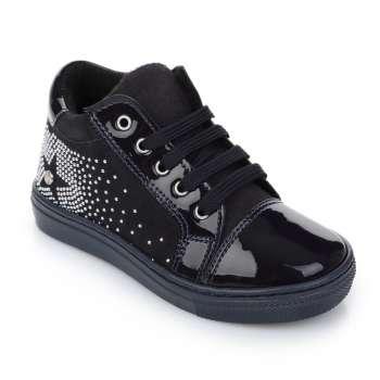 Натуральні лакові черевики на шнурівці і блискавці