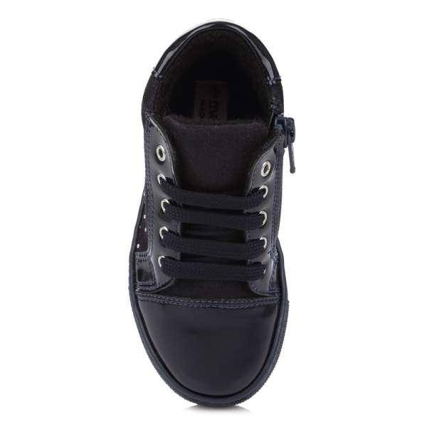 Натуральные лаковые ботинки на шнуровке и молнии