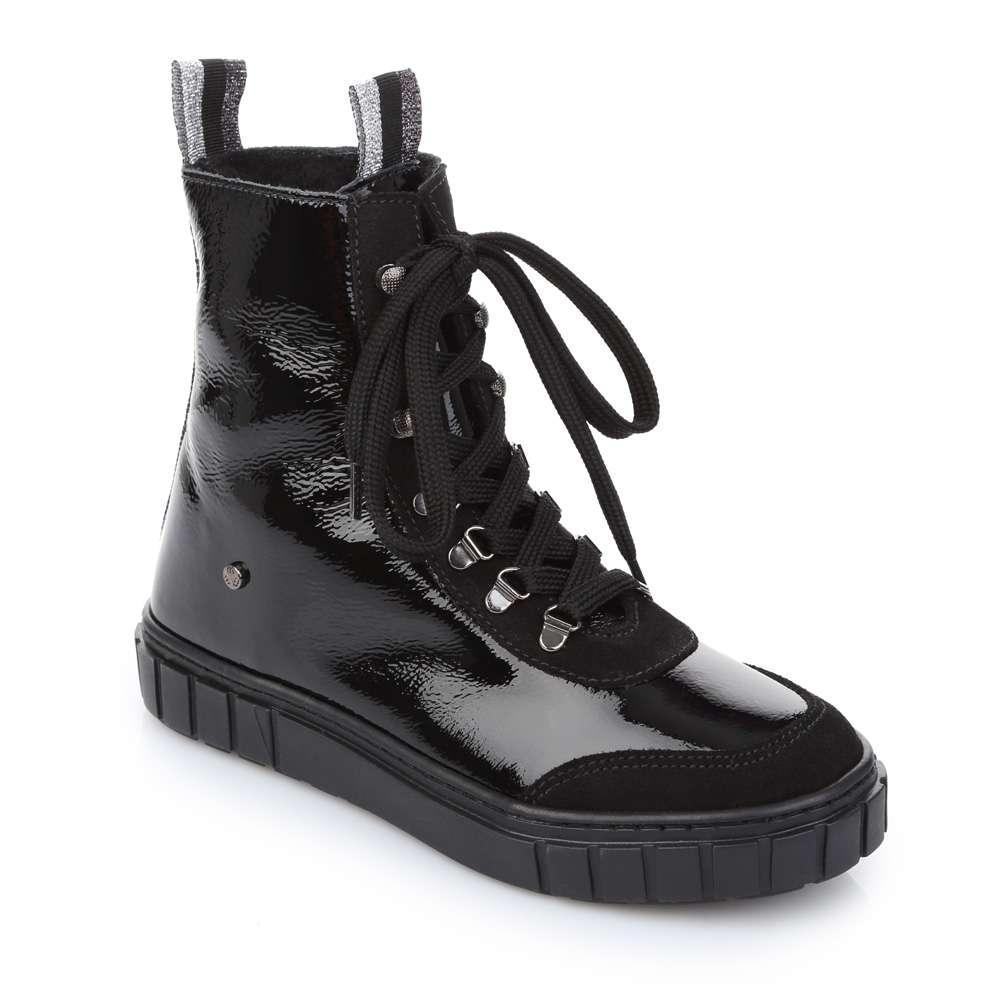 Ботинки лаковые на шнуровке и молнии